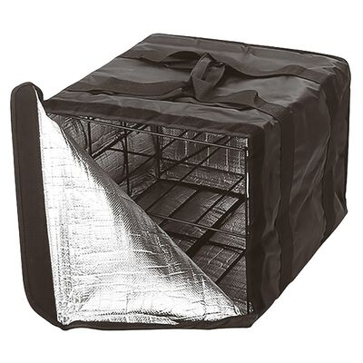 Insulated delivery bag with rack